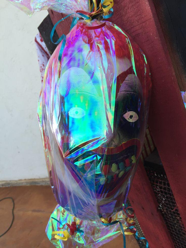 candy clown head in cellophane crazy clown candy cart psycho clown makeup crazy