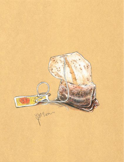 """""""Sacrilege!"""" Teabag on beige Ingres toned paper by Fabriano using Faber Castell Albrecht Dürer watercolor pencils"""