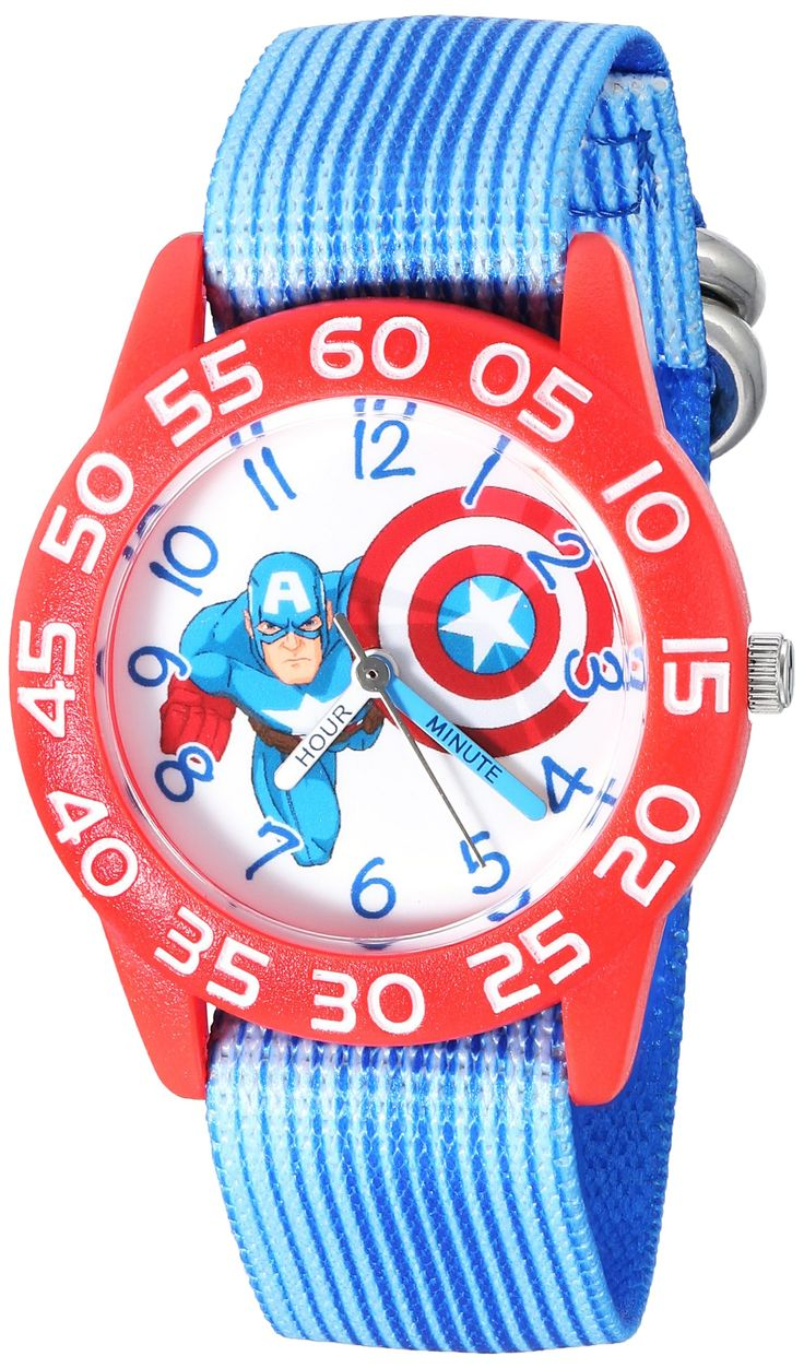 Marvel Boy's 'Captain America' Quartz Plastic and Nylon Automatic Watch, Color:Blue (Model: W003218). Meets or exceeds all US Government requirements and regulations for Kid's watches. 1 year limited manufacturer's warranty. Analog-quartz Movement. Case Diameter: 32mm. Water Resistant To 30m (100ft): In General, Withstands Splashes or Brief Immersion In Water, but not Suitable for Swimming or Bathing.