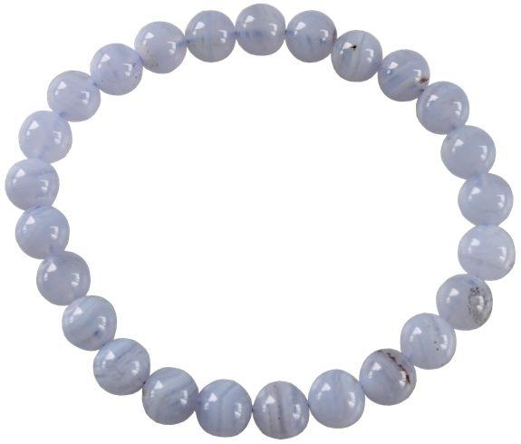 Bracelet Perles Rondes Calcédoine Bleue - secret esoterique