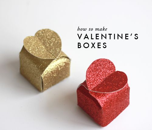 The House That Lars Built.: How to make glitter Valentine's heart boxes  DIY--tutorial and free printable template!