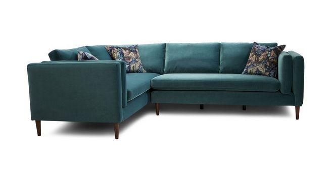 Eden Right Hand Facing Arm 3 Seater Corner Sofa Luxe Velvet Dfs Velvet Corner Sofa Corner Sofa Teal Corner Sofas