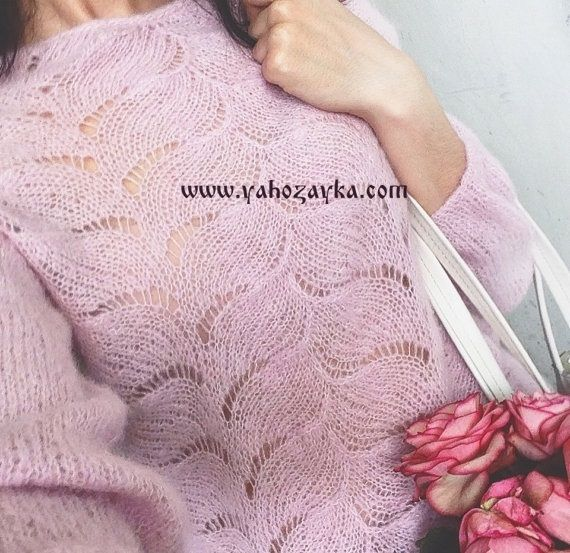 Нежный пуловер спицами. Женский пуловер спицами с ажуром