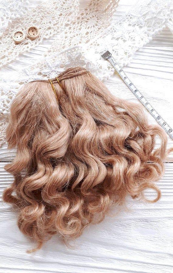 coarse mohair weft Cream, deep wave, doll hair, bjd doll hair, Blythe hair, waldorf doll hair