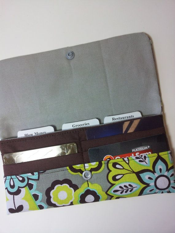 CASH ENVELOPE Wallet with Dividers & Credit Card Slots --for use with the Dave Ramsey System-- Aqua Medallion