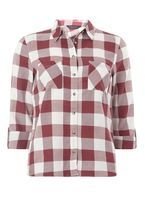 Burgundy Large Gingham Checked Shirt