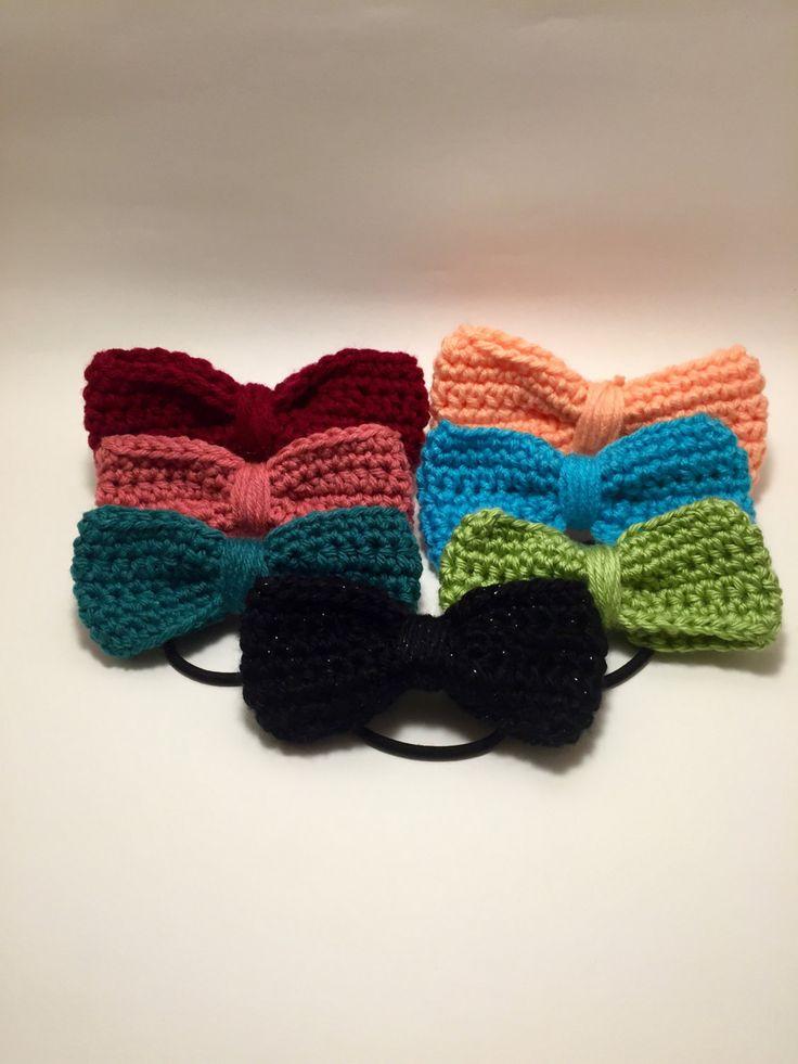 Crochet hair bows, jumbo bow ties, hair accessories for girls, 15 bright colors, crochet hair accessories, handmade hair ties, hair decor by Odnasi on Etsy