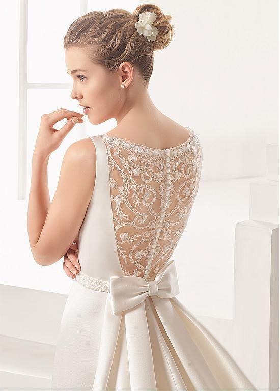 Gorgeous Satin Bateau Neckline Sheath/Column Wedding Dress With Beaded Embroidery & Beadings & Handmade Flowers