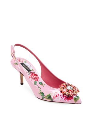 faffcac9503 DOLCE  amp  GABBANA Floral-Print Slingback Pumps.  dolcegabbana  shoes    Pink