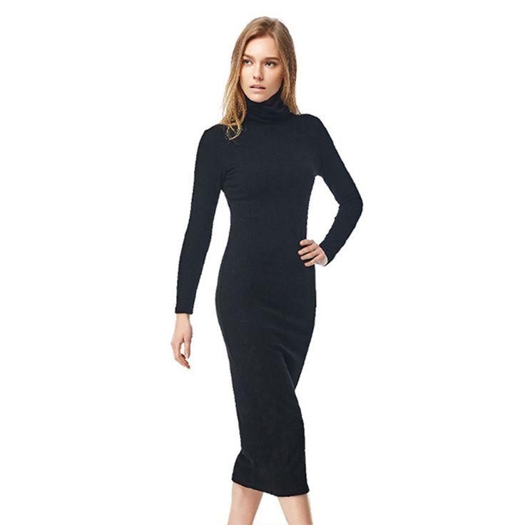 2016 New Fashion Women Sexy Black Party Dress Long Sleeve Turtleneck Winter Maxi Dress Slim Work Wear Office Dress Vestidos