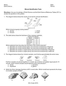Worksheet - Mineral Identification Tests *EDITABLE* (WITH ANSWERS ...