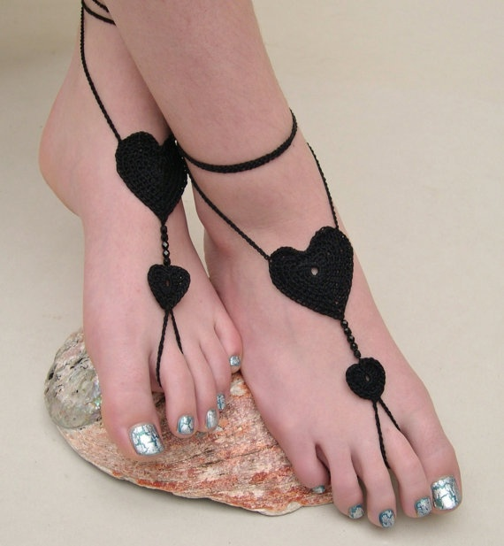 Black Heart Barefoot sandals  Crocheted Heart by MaryKCreation, $18.00