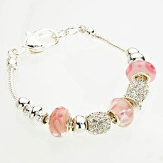 FLORAL BEAD CHARM HEART TOGGLE BRACELET - SILVER/PINK