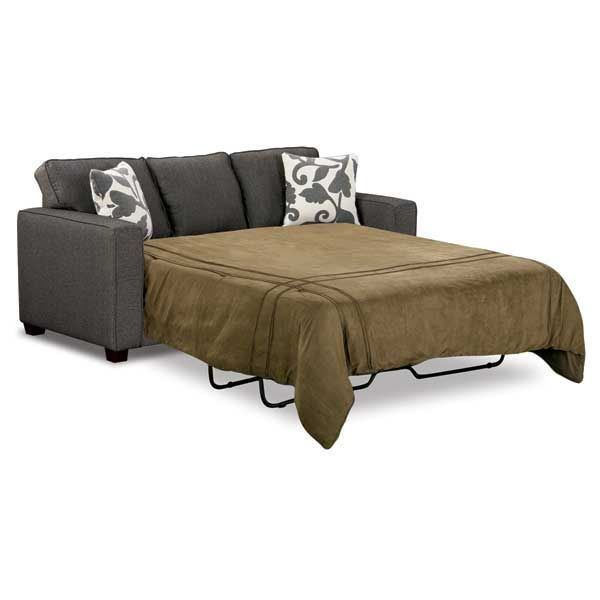 sit down & relax in the Marcie Onyx Queen Sleeper Sofa from Fusion Furniture. This classy queen size sleeper sofa will be inviting for your friends & family staying over. Beautiful contemporary pillows accent the charcoal herringbone tweed fabric. Frames are constructed of sturdy hardwoods & plywoods with quality foam cushion core construction for comfort. Great comfort with a classy look for your home.