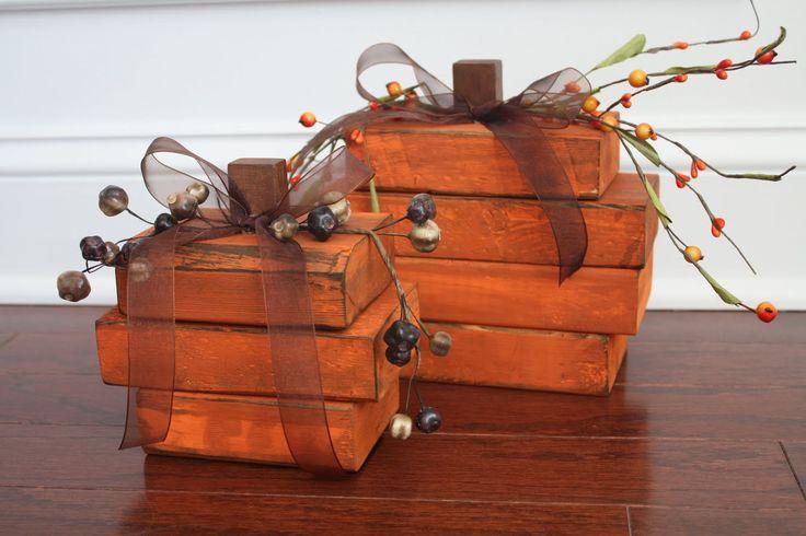 stacked-wood pumpkins.