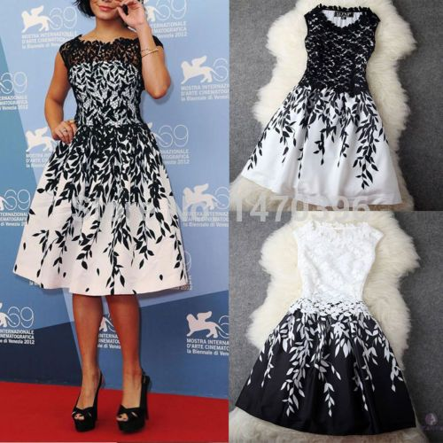 Sexy Womens Embroidery Lace Club Cocktail Party Dress UK Size 6 8 10 12 14 16 18(China (Mainland))