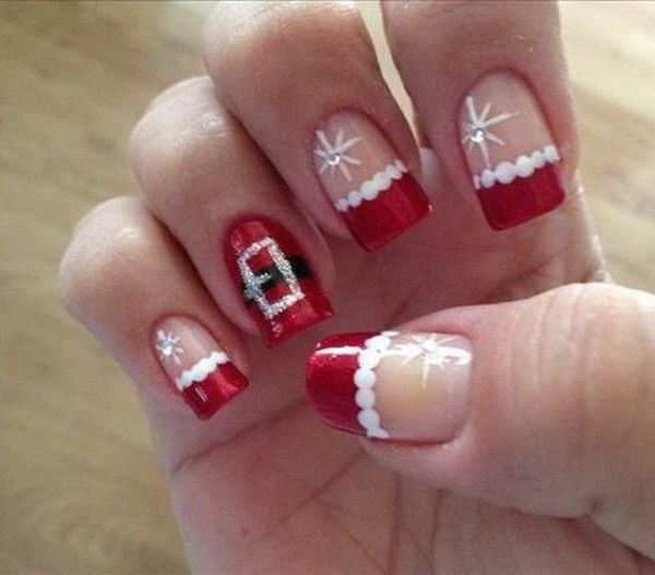 Cute Santa Christmas Nail Design.