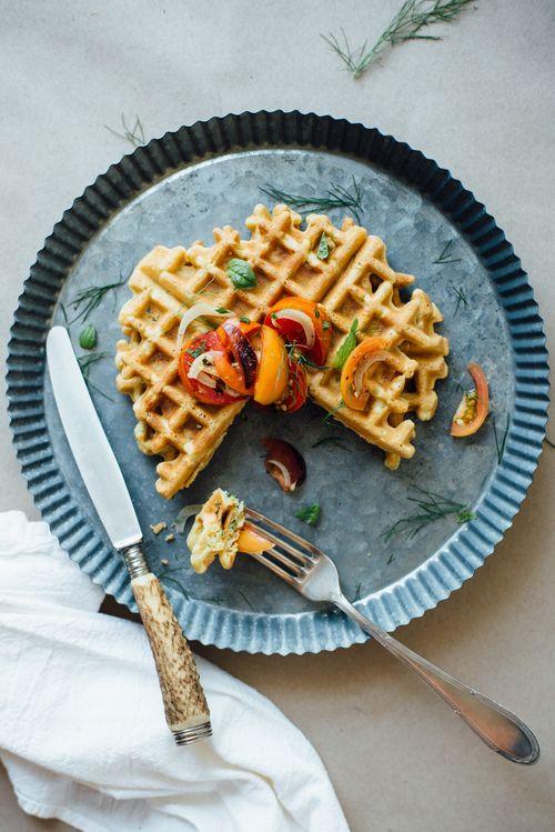Zucchini-basil chickpea waffles  tomato + shaved fennel salad