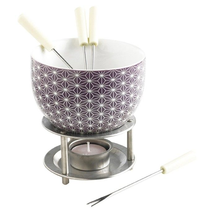 Mastrad's ceramic chocolate fondue set with Stars pattern is fun and easy to use!