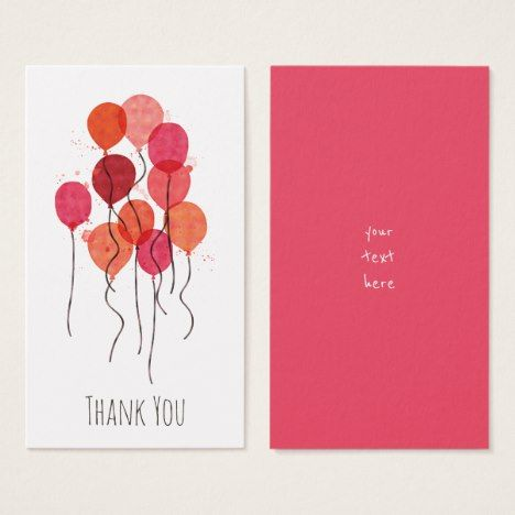 Balloons In Red Coral Watercolor Business Card Check out this artsy business card. Be your own person and let that be reflected in your business. #businesscards #business #businessowner