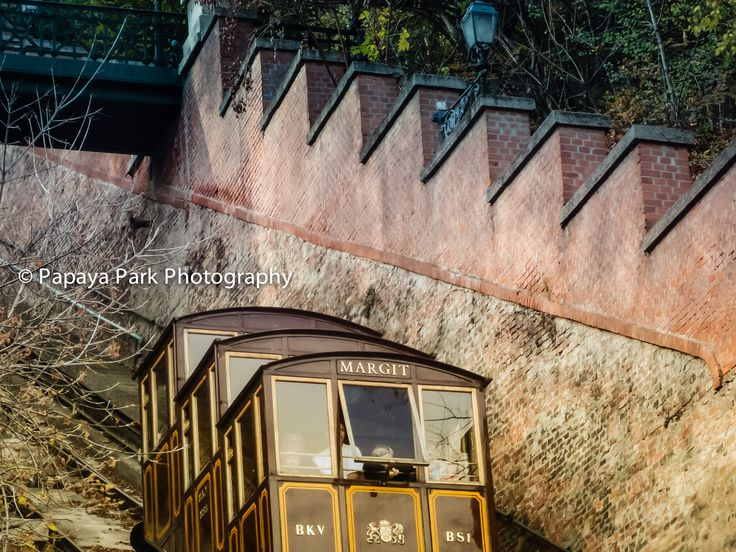 The Buda Hill Funicular heading up to Castle Hill from Clark square in Budapest, Hungary.