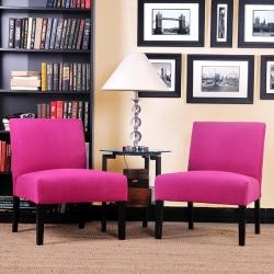 @Overstock   The Set Of Two Niles Armless Chairs Feature Gently Tapered  Legs And Deep