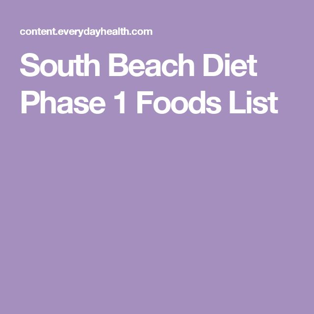 South Beach Diet Phase 1 Foods List