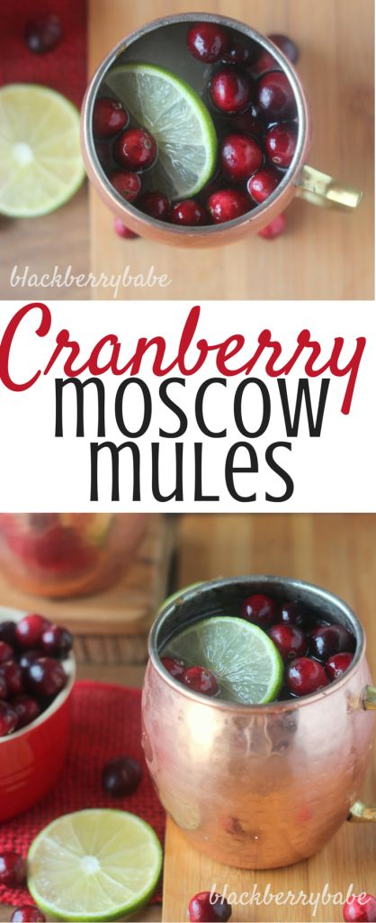 Cranberry Moscow Mules. A super easy way to bring the holidays to this awesome cocktail!