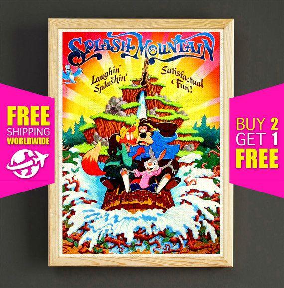 Disney Poster Disneyland Vintage Splash Mountain Print Frontierland Art Fantasyland Wall Home Decor Gift 363