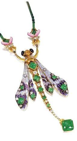 RARE AND IMPORTANT ENAMEL, GOLD, EMERALD AND DIAMOND CORSAGE ORNAMENT, FÉDOR ANATOLEVITCH LORIE, CIRCA 1900 | JV