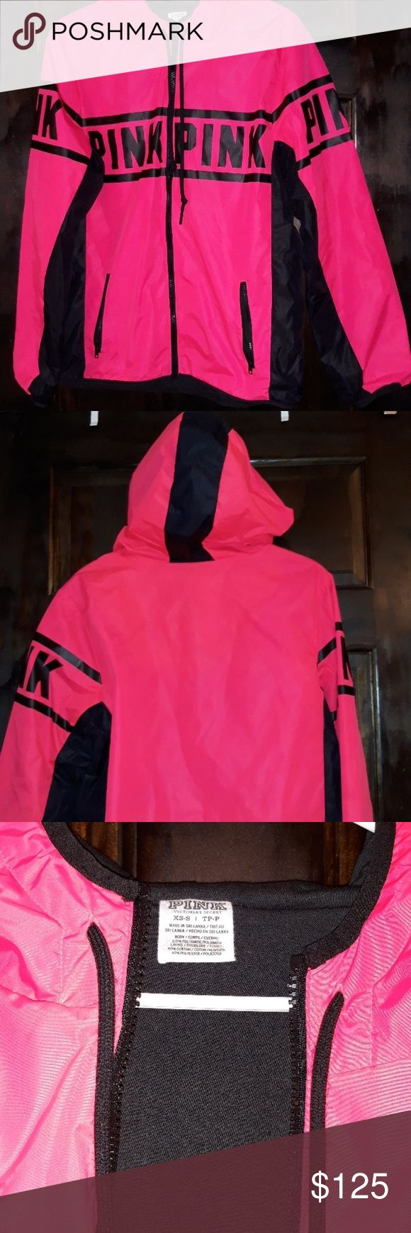 VS PINK ANORAK HARD TO FIND THIS COLOR !!! FLEECE LINED FULL ZIP HOODED NEON PINK AND BLACK SUPER WARM WINDBREAKER 2 FRONT POCKETS NEW WITHOUT TAGS! PERFECT XMAS GIFT! SHE WILL LOVE LOVE LOVE THIS  NO TRADES NOOO TRADES PINK Jackets & Coats