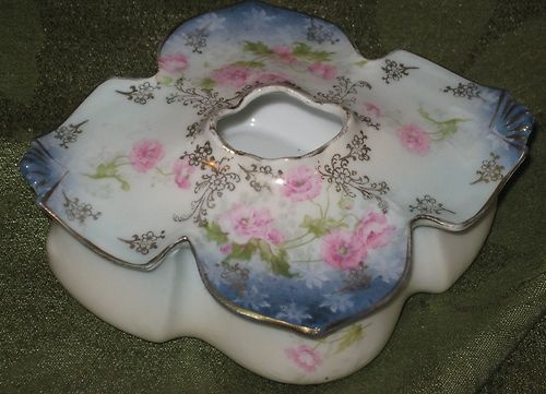 R s Prussia Hair Receiver Mold 802 Blue Pink Roses Antique German Porcelain-have my grandma's hair receiver-shaped like this one but different coloring