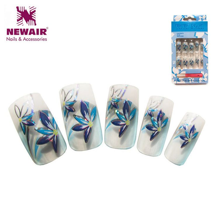 2016 New Metallic False Nails Cheap Full Cover False Nails UV Free Glue Fake Manicure Set Colored Acrylic Nail Art Tips Beauty