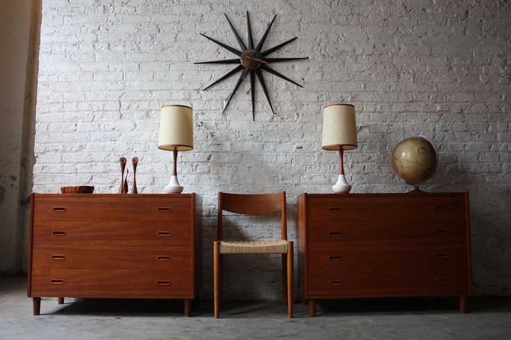 Dynamic Danish Duo! Pair of Versatile Mid Century Teak Dressers (Denmark, 1950's) via Kinzco