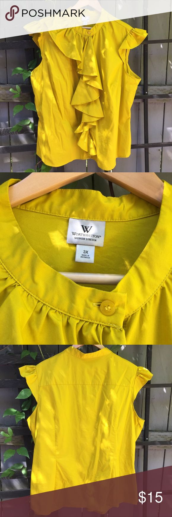 Yellow Worthington Plus Size 3XL Shirt For sale is a Worthington brand plus size sleeveless yellow shirt. This shirt is so beautiful and features lots of cute details like a mandarin collar, flutter shoulders, and an asymmetrical ruffle down the front. The fabric is a bright mustard yellow and is woven with a bit of stretch. From a nonsmoking home. It is in excellent condition. Worthington Tops Blouses
