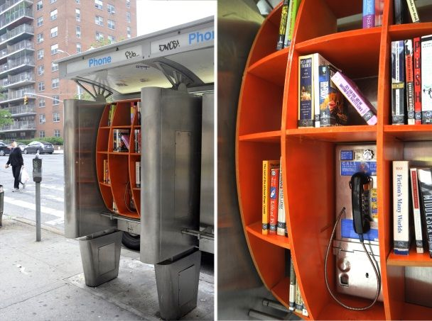 Columbia grad, John Locke has been going around Manhattan converting old pay phones into pop-up libraries.