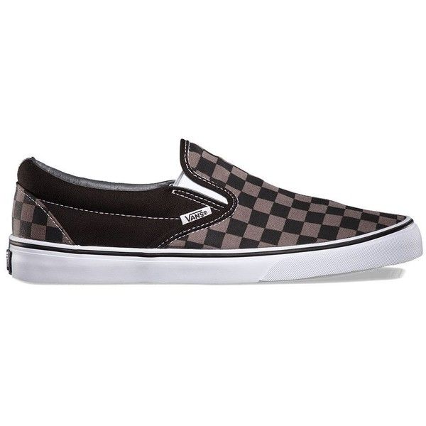 Vans Checkerboard Slip-On (505 MAD) ❤ liked on Polyvore featuring shoes, sneakers, grey, slip on trainers, gray sneakers, vans trainers, vans shoes and checkered shoes