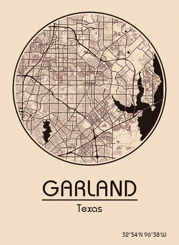 Karte / Map ~ Garland, Texas - Vereinigte Staaten von Amerika / United States of America / USA