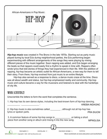 Worksheets: History of Hip Hop Music, learn how to freestyle rap here: http://tofreestyle.com