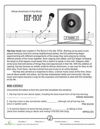 Worksheets: History of Hip Hop Music