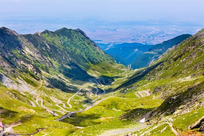 Transfagarasan Road rises to a height of 2134 meters.