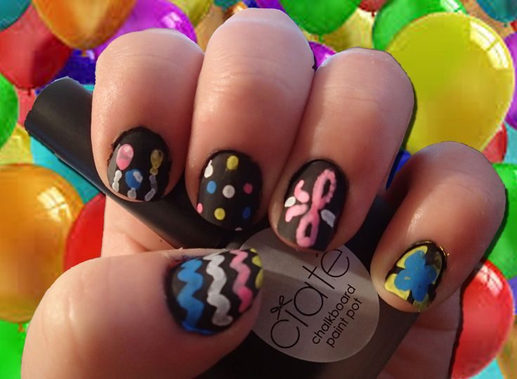 Nail Art Challenge, Day 24: Birthday Theme          Using Ciate Chalkboard Manicure kit