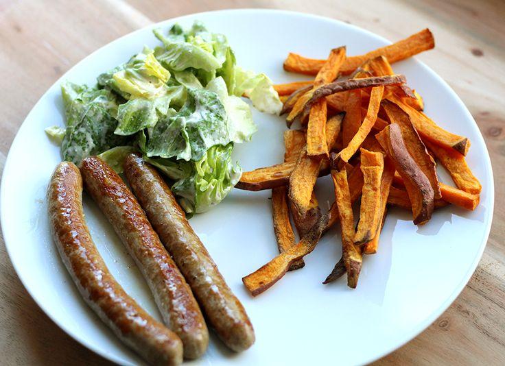 Culy Homemade: lamsworstjes met zoete aardappelfriet & sla -