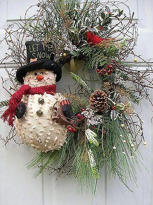 Christmas, Winter, Primitive Snowman Floral door Wreath Arrangement