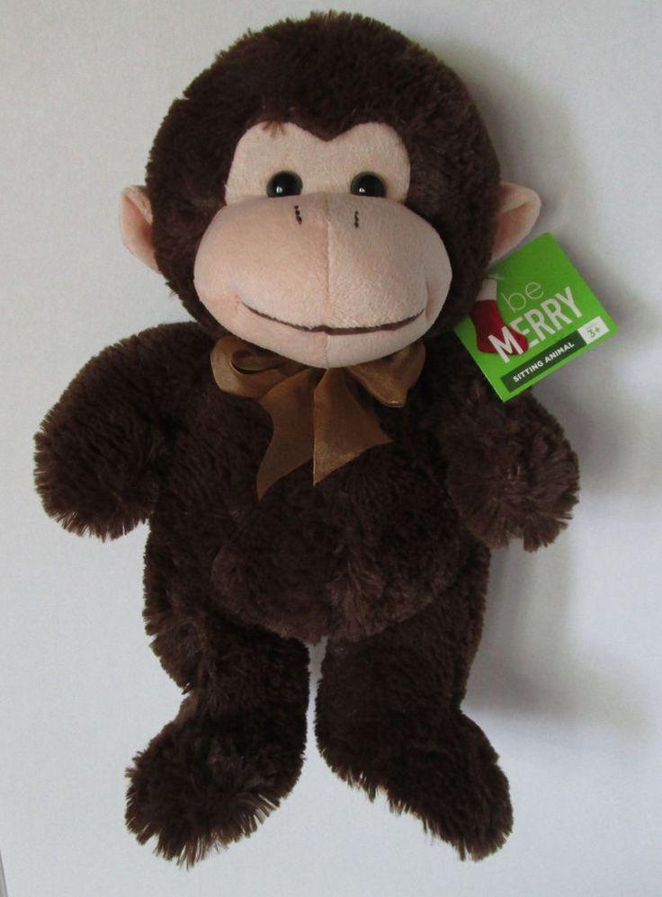 New Plush Brown Monkey Stuffed Animal Toy Gold Bow 15