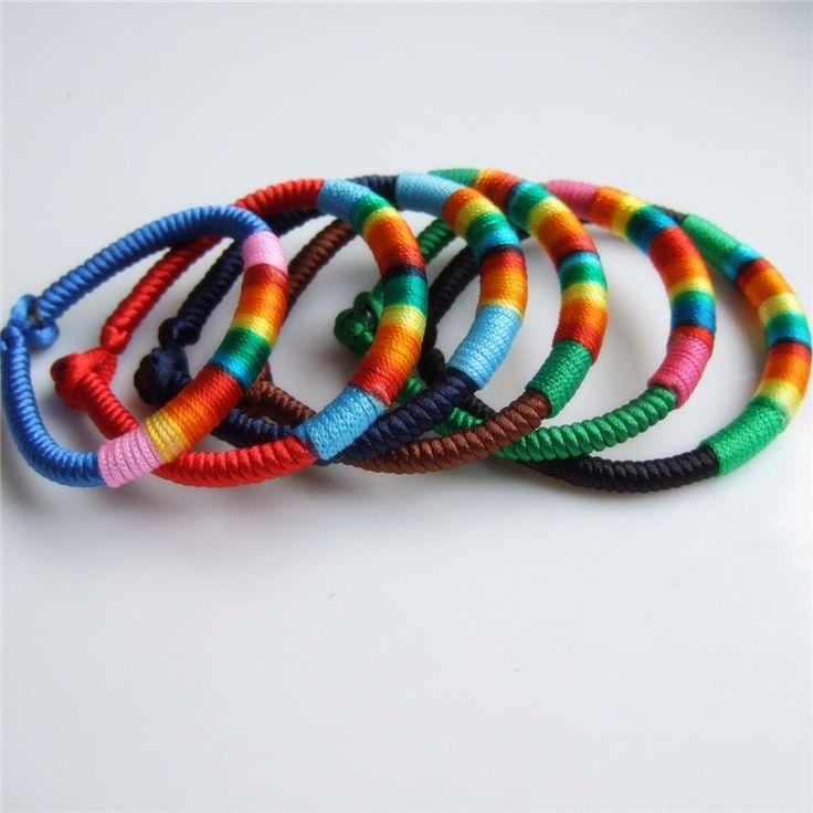 6pcs/lot 6styles Gay Colors Rasta Silk Cord Twine FriendShip Bracelet