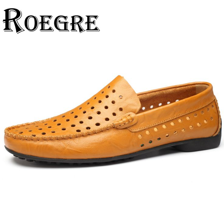 ROEGRE Hot Sale 2017 Hollow Out Mens Loafers Split Leather Comfortable Male Casual Fashion Driving Moccasins Black Blue Brown