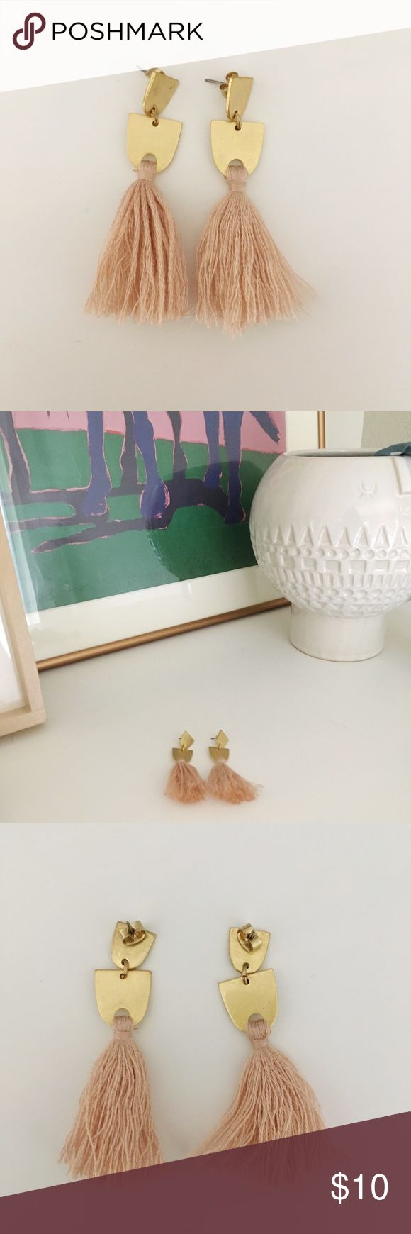 Millennial Pink and Gold Tassel Earring These super lightweight tassel earrings with gold details from Madewell are so cute and comfortable. Madewell Jewelry Earrings