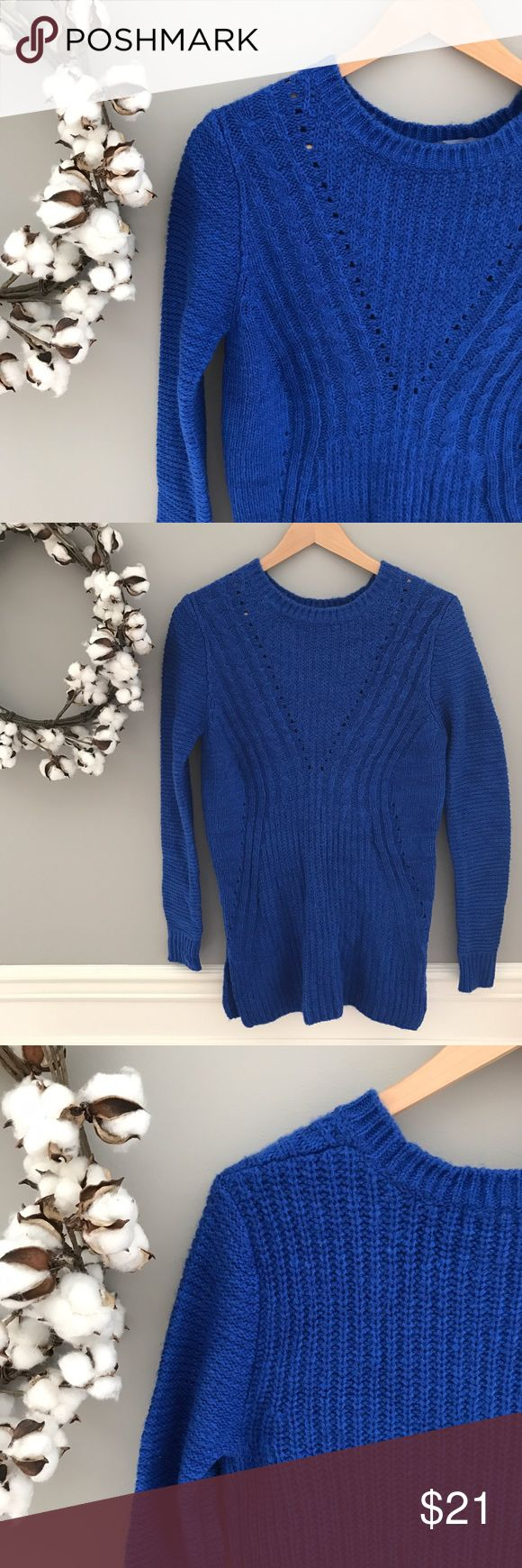 "🆕 NWOT Royal Blue Sweater Dress Size S NEW without tags-- gorgeous royal blue color (did you know that royal blue is the universally flattering tone?) ▫️ acrylic / nylon blend▫️slimming hourglass cable stitching ▫️different pattern on the sleeves + back ▫️full length sleeves ▫️crew neck ▫️ peek-hole detailing on V and sides ▫️30"" length, 5"" long split from the hem (see pic 6) ▫️bust 35"" (all measurements unstretched) ▫️Mossimo size S Dresses"
