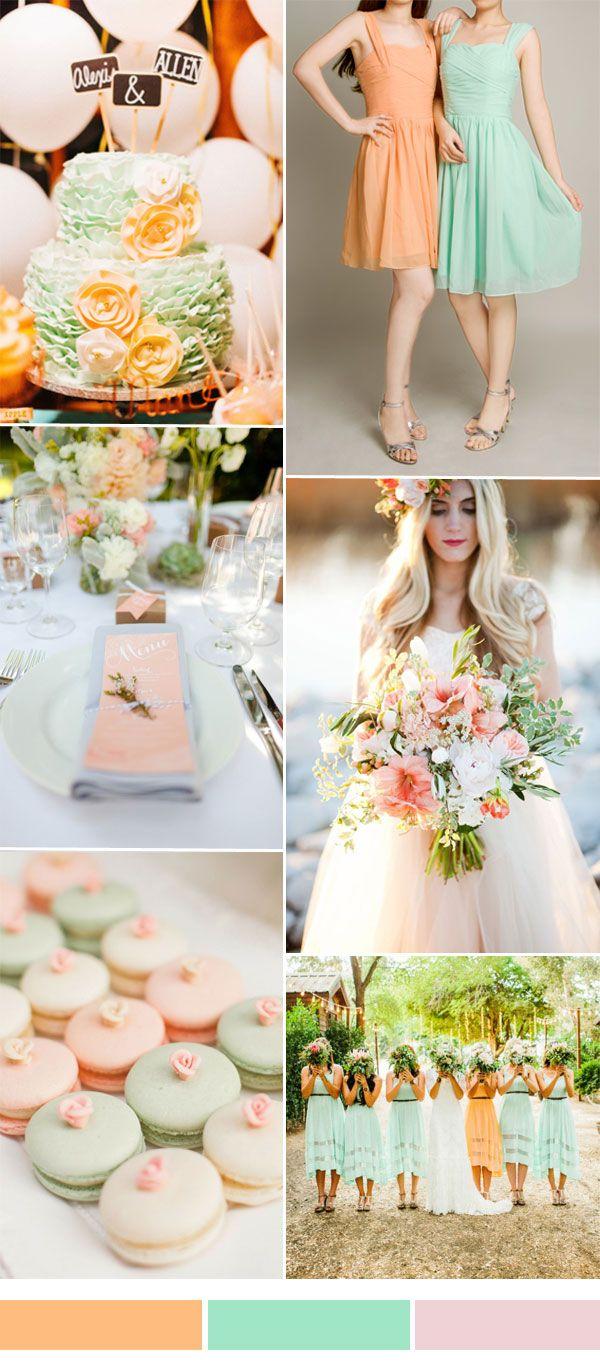 melocotón y la menta de la boda de inspiración de color con vestidos de dama cortos